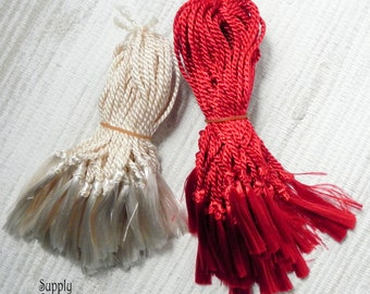 Tassel, Trims, Embellishments, Scrapbooking - 50 or 100 pieces - Your choice of red or ivory