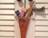 Primitive Bunny Carrot with Flowers and Easter Egg Cupboard Hanger Hand Crafted and Painted