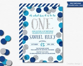 First Birthday Invitation Printable Boys Birthday Blue Silver Glitter Polka Dots Confetti Birthday Invitation Digital Oh What Fun Invite