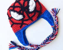Spiderman, Crochet Spiderman Hat, Spiderman Hat, Spiderman Beanie, Crochet Spiderman Beanie, Boys Hat, Crochet Spidey, Spidey Hat