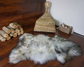Natural Genuine Rare Breed GIANT Icelandic Sheepskin Rug - Blacky Brown / Silver / Creamy White Mix Colour - Soft Touch Long Wool - SI 126