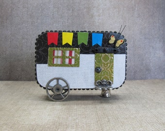 Altered art camper tin Altoids camping black and white