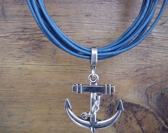 Multi Strand Distressed Navy Blue Leather Necklace with Chunky Antique Silver Anchor Pendant
