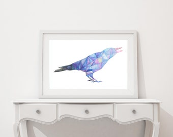 Geometric Raven Watercolor