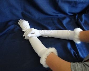 Vintage Faux Fur Trim Elbow Length White Gloves with Pearl Button Detail at Wrist - Bride Cotillion Opera -Elbow Length ES-LW-10