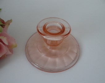 1930s Anchor Hocking Pink Block Optic Candlestick - Anchor Hocking Pink Block Optic Candle Holder - Over 75 years old