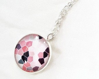 Pink black white, necklace with pendant cabochon 18 mm, delicate and feminine, in quebec, gifts for her,