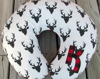 Boppy Cover, Buffalo Plaid, Nursing Pillow, Newborn Lounger Cover, Baby, Lumberjack Nursery Decor, Crib Bedding, Deer, Woodland, Personalize