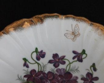 Japan Lustreware Dish Purple Violets