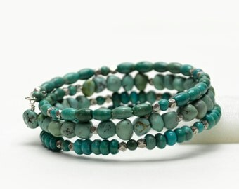 Genuine Turquoise Bracelet - Turquoise Gemstone and Pure Silver Memory Wire Bracelet - Vintage Nevada Turquoise Jewelry