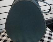 Vintage 1950's Blue Teardrop Travel Train Suitcase. Curler Bag, Make-up, Cosmetics Case. Carry On Bag. Tear Drop,Egg Shaped. Ships Worldwide