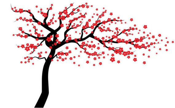 Red Cherry Blossom Tree Wall Decal Wall Tree Decal Tree Wall