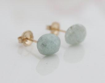 Aquamarine stud earrings - gold post earrings set with aquamarine gemstones