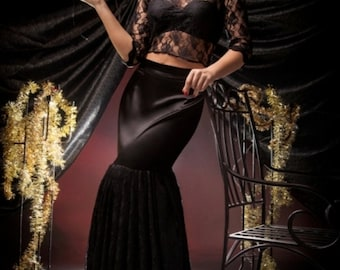 Black Exquisite Pin Up Look Long Lace and Satin Skirt and Lace Top