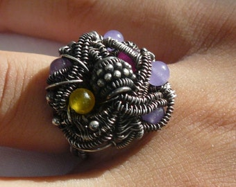 Flower of the Night - Ring - Sterling Silver - Wire Wrapped - SIZE 8