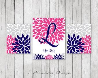 Girls Nursery Bedroom Hot Pink Navy Gray Flower Bursts Personalized Art Prints Set of (3) 2 Size Options // Girls Modern Wall Art - Unframed