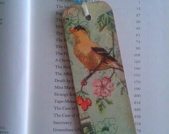 Little Birds Bookmark, Decoupage