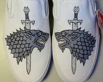 Custom Vans Game of Thrones Stark Wolf Handpainted Shoes Slip-on