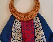 1970s Purse Vintage Hippie Embroidered Fabric Summer Handbag with Rattan Handle Vintage Knitting Bag Boho Tribal Cloth Handbag