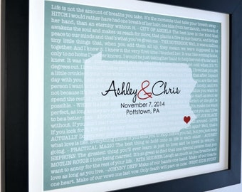 Anniversary gift for him wedding vows movie lyrics unique wall art print personalized him and her artwork gifts for couple custom monogram