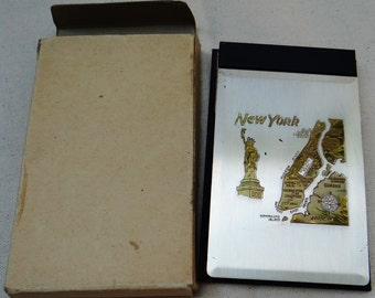Vintage NEW YORK Two Tone Metal Note Pad Holder
