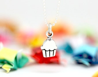 Little Cupcake charm, sterling silver, kid jewelry (Chain Sold Separately)