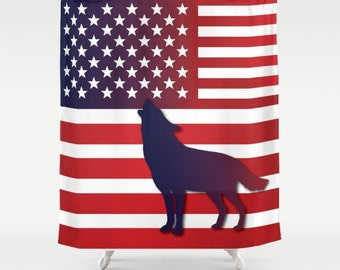 Wolf American Flag Shower curtain USA flag curtain Flag art Military Shower curtain Wolf curtain Independence day curtain Patriot curtain