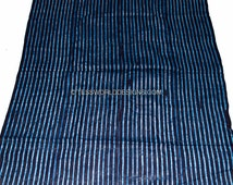 Authentic hand crafted thin indigo mudcloth from Guinea/ African mudcloth/ African fabric/  GMC02