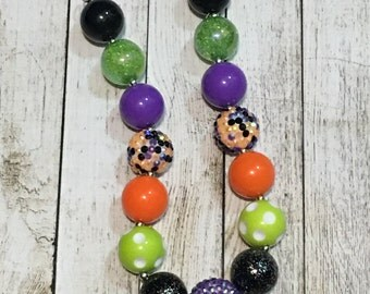 Colorful Halloween chunky beaded necklace