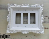Triple Light Switch Plate Ornate Framed Shabby Chic White Electrical Cottage Painted Cover Vintage Decor Toggle Lite Metal DETAILS BELOW