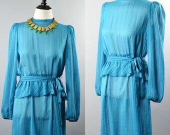 1980s Semi Sheer Teal Blue Peplum Dress