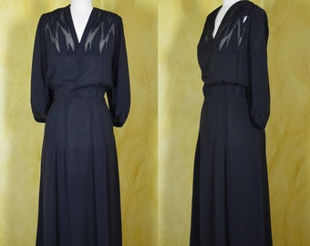 1940s Black Crepe Dress with Beaded Chiffon Graphic Inserts