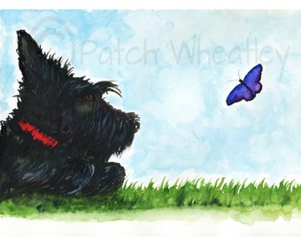 Scottie Dog and Butterfly  Art Print 8X6 inch Scottish Terrier #152