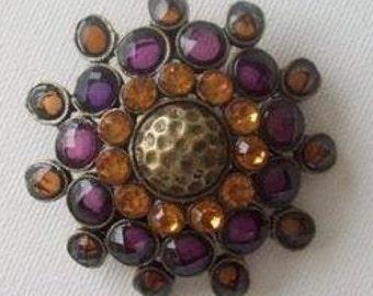 Retro Vintage 1980s Bejewelled Round Brooch