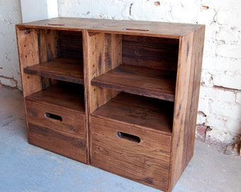 Nightstands/ Side Tables/ Crate Table/ Drawer/ Wooden Crate/ Set of Two