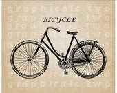 Woman''s Bicycle Antique Instant digital download image transfer for iron on fabric burlap pillows totes decoupage scrapbook cards No. gt198