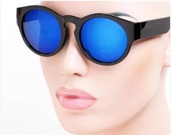 LOVE U SALE Blue mirrored Round Frame Sun Glasses