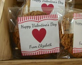 Personalized Favor Bags - Cookie Bags - Valentine's Day Heart and Stripes Design - 24 Cellophane Bags and Personalized Stickers
