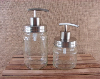 NEW - All Stainless Steel Mason Jar Soap Pump - Choose Your Jar - Square 8 oz or Square Pint Mason jar - Mason Jar Lotion Pump