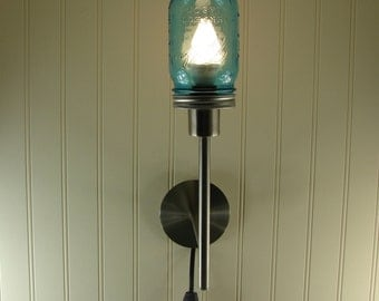 Mason Jar Wall Sconce - Handmade Mason Jar Lamp - Vintage Blue Quart or Pint Mason Jar