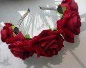 Handmade silk flowers headress on sturdy headband bridesmaid wedding faire bohemian wreath hair accessories