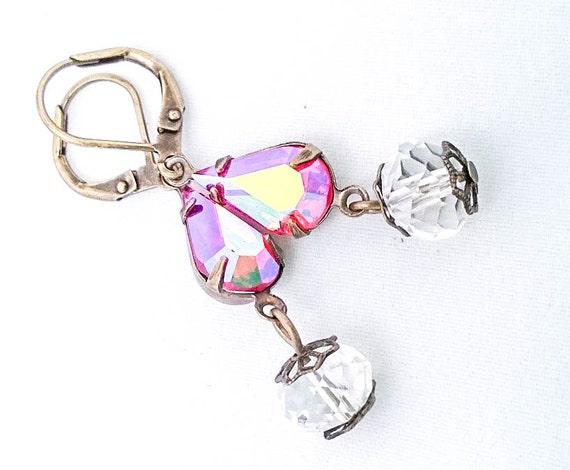 Pink & White Vintage Swarovski Rhinestone Hyacinth AB Pear Crystal Teardrop Latchback Dangle earrings