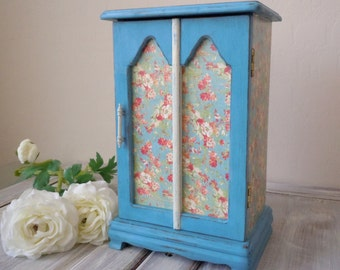French Country Vintage Floral Jewelry Cabinet.  Hand Painted in Blue Montana Sky by CeCe Caldwell Paints.