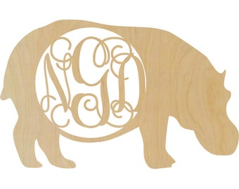 Wooden Hippo shape with a monogram insert bedroom decor zoo time