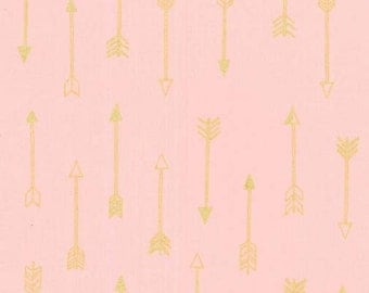Arrows in Blush Metallic - Arrow Flight collection by Michael Miller fabric