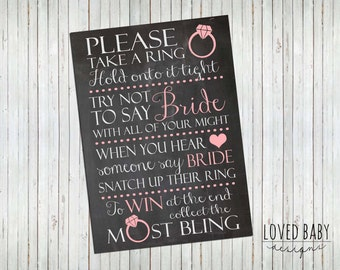 "Bridal Shower Game Sign - Instant Download, 8x10"", 5x7"", Chalkboard Printable"