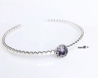 Genuine Alexandrite Cuff / June Birthstone Gift  for Her / Silver Alexandrite Bracelet / June Birthday Gift / Mothers Jewelry / Push Gift