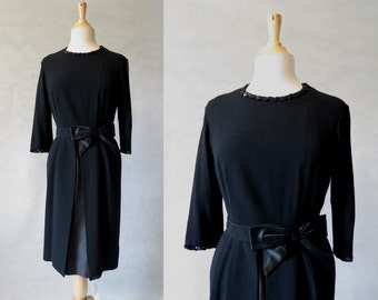 Black Wool Dress With Satin Under Skirt - 1950s