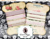 75% OFF SALE Digital Collage Sheet LACE Holders Shabby chic No 01 Digital Tags Ribbon holders Instant download