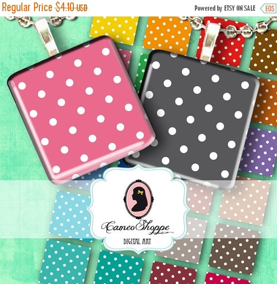 75% OFF SALE POLKA Dots 1.5 inches Square Digital Collage Sheet Digital download